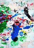 Красные зеленые красные черные серые голубые розовые цвета и оттенки Абстрактная влажная предпосылка краски Пятна картины стоковая фотография rf