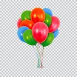 Красные зеленые и голубые воздушные шары гелия установили изолированный на прозрачной предпосылке иллюстрация штока