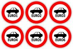 Красные знаки уличного движения ограничивая автомобили высокого излучения для входа Стоковые Изображения RF