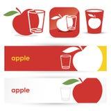 Красные знамена и иконы яблока Стоковые Фотографии RF