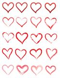Красные значки сердца изолированные на белой предпосылке иллюстрация штока