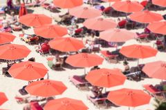 Красные зонтики стоковое изображение rf