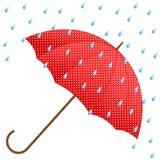 Красные зонтик и дождь Стоковые Фото