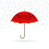 Красные зонтик и дождь Стоковое фото RF