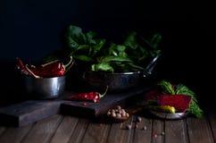 Красные листья chili и шпината стоковые изображения