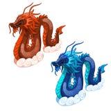 Красные и голубые драконы змея Изолированный вектор иллюстрация вектора