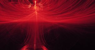 Красные и желтые абстрактные линии предпосылка частиц кривых Стоковое фото RF