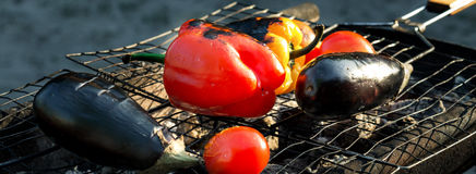 Красные и желтые перец, баклажан и томат на решетке жарят Стоковые Изображения RF