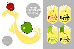 Красные и зеленые яблоки на соке брызгают Органические бирки ярлыков плода и текст яблочного сока иллюстрация вектора