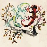 Красные и зеленые ящерицы Стоковые Фотографии RF