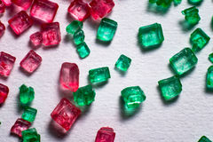 Красные и зеленые кристаллические lollies Стоковое Изображение RF