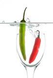 Перцы Chili в стекле Стоковое фото RF