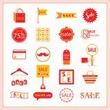 Красные и оранжевые установленные значки ПРОДАЖИ и покупок Стоковые Изображения