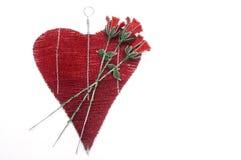 Красные и розовые вышитый бисером сердца Стоковая Фотография