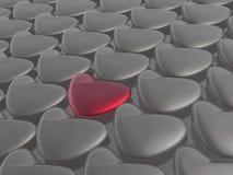 Красные и серые сердца Стоковое Фото
