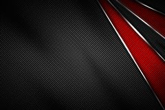 красные и черные волокно углерода и рамка хромия иллюстрация вектора