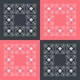 Красные и черные квадраты с орнаментом Стоковая Фотография RF