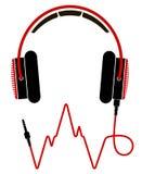 Красные и черные наушники с кабелем Стоковые Фотографии RF