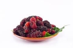 Красные и черные плодоовощ ягоды и лист шелковицы в коричневом шаре на еде плодоовощ шелковицы белой предпосылки здоровой Стоковое Изображение