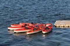Красные каяки двойника Стоковые Фотографии RF