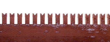 Красные кирпичи в стене Кремля на белой предпосылке стоковые фотографии rf