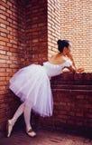 Красные кирпичные стены, девушки в белых юбках стоковая фотография rf