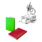 Красные книги, зеленый цвет, часы, яблоко, карандаши, назад к Стоковое Изображение