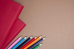 Красные книги и карандаши Стоковая Фотография RF