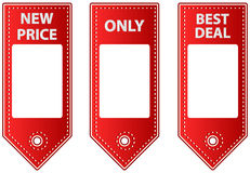 Красные кожаные бирки продажи с ярлыками пробела для цены Стоковая Фотография RF