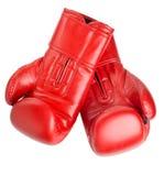 Красные кожаные перчатки бокса изолированные на белизне Стоковые Фотографии RF