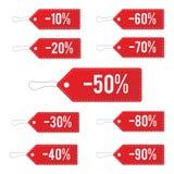 Красные кожаные установленные ценники продажи также вектор иллюстрации притяжки corel Стоковые Фото