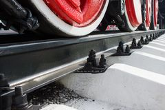 Красные колеса локомотива Стоковые Фотографии RF