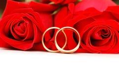 красные кольца подняли 2 wedding Стоковая Фотография
