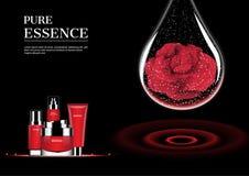 Красные комплект и вода косметики падают с красной розой с красным concentri иллюстрация вектора