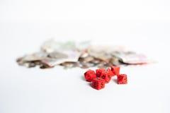 Красные кость и деньги стоковая фотография rf