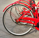 Красные колеса велосипеда Стоковая Фотография