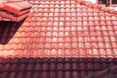 Красные крыша, свет и тень Стоковые Изображения RF