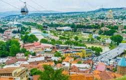 Красные крыши Тбилиси Стоковая Фотография