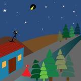 Красные клобук, волк и лунное затмение катания Стоковое фото RF