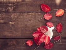 Красные листья и коричневая поверхность от деревянных доск стоковое изображение