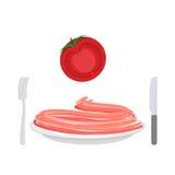 Красные макаронные изделия с ингридиентом томата Спагетти на плите Вектор i иллюстрация вектора