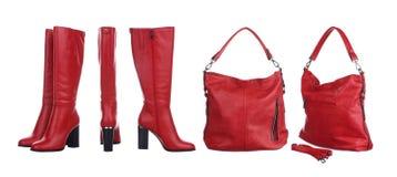 Красные мешок и ботинки стоковое изображение