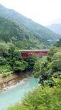 Красные мост и Green River в долине Iya в Японии Стоковое Фото