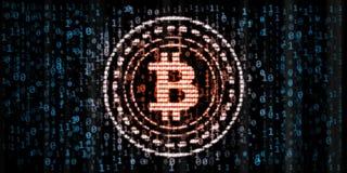 Красные накаляя данные по Bitcoin в нул и одном формате номеров числа на голубой бинарной предпосылке бесплатная иллюстрация