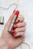 Красные ногти и красная губная помада Стоковые Изображения RF