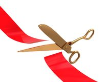 красные ножницы тесемки Стоковое Фото