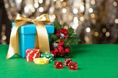Красные обломоки плашек и покера Стоковые Фото