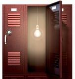 Красные локеры школы с электрической лампочкой внутри фронта иллюстрация штока