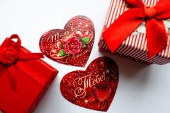 Красные открытки на день ` s валентинки Стоковые Фотографии RF