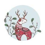 Красные олени с цветками Стоковая Фотография